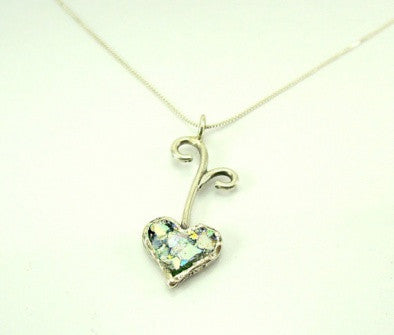 Silver & Roman Glass Heart - Roman-Glass-Jewelry.com  - 1