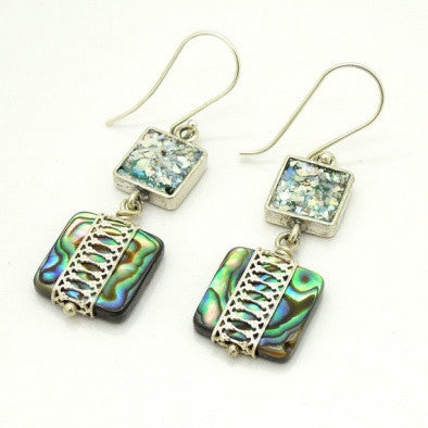 Abalone Shell & Roman Glass Earrings - Roman-Glass-Jewelry.com  - 1