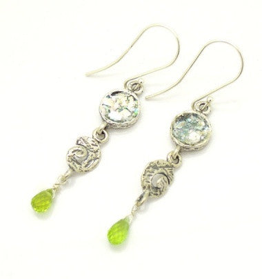 Silver Earrings Green Quartz - Roman-Glass-Jewelry.com  - 1