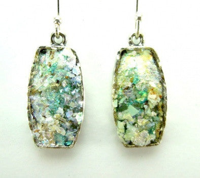 Rectangular Roman Glass Earrings - Roman-Glass-Jewelry.com  - 1