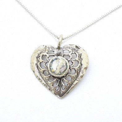 Roman Glass Heart Pendant - Roman-Glass-Jewelry.com  - 1