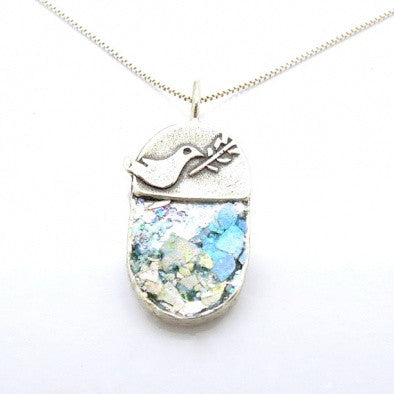 Dove & Olive Tree Branch Pendant - Roman-Glass-Jewelry.com  - 1