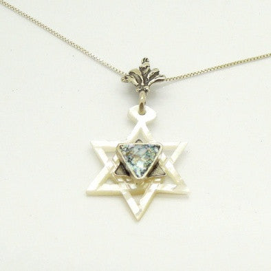 "Roman Glass ""Star of David"" Necklace - Roman-Glass-Jewelry.com  - 1"