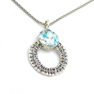 Silver & Roman Glass Necklace - Roman-Glass-Jewelry.com  - 1