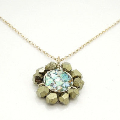 Roman Glass & Pyrite Necklace - Roman-Glass-Jewelry.com  - 1