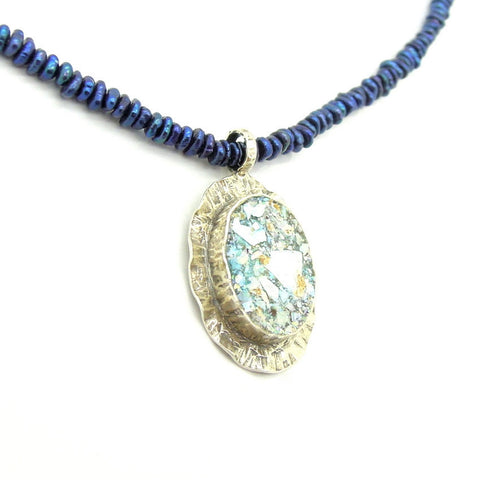 Blue Pearl Beads & Roman Glass Necklace - Roman-Glass-Jewelry.com  - 1