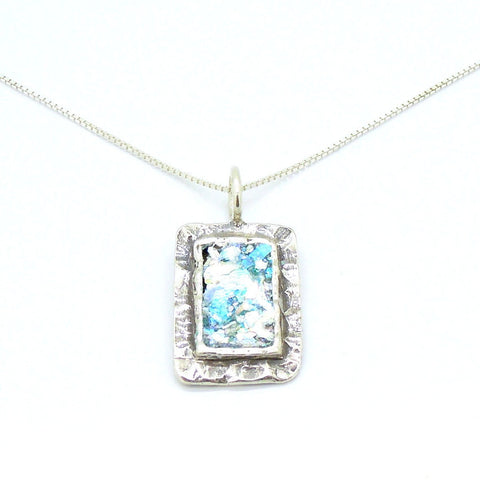 Hammered Silver & Roman Glass Pendant - Roman-Glass-Jewelry.com  - 1