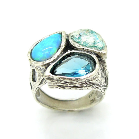 Hammered Silver, Drop Shaped Opal, Blue Quartz & Roman Glass Ring - Roman-Glass-Jewelry.com  - 1
