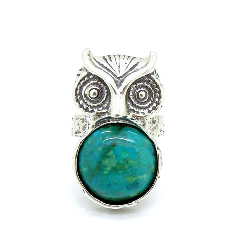 Silver Owl With Eialt Stone (Criscola) Ring - Roman-Glass-Jewelry.com  - 1