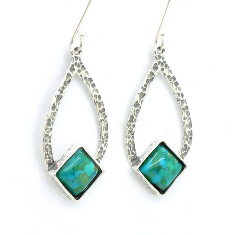 Drop Shaped Hammered Silver & Turquoise Earrings - Roman-Glass-Jewelry.com  - 1