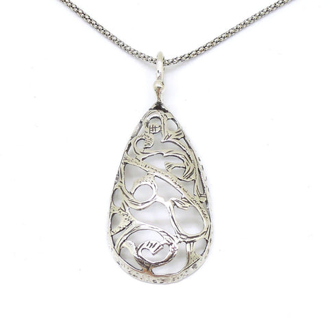 A Drop Shaped Filigree Sterling Silver Pendant - Roman-Glass-Jewelry.com  - 1