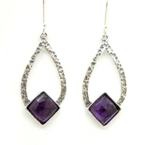Drop Shaped Hammered Silver & Amethyst Earrings - Roman-Glass-Jewelry.com  - 1