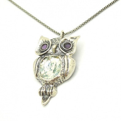"""The Owl"" - Amethyst & Roman Glass Pendant - Roman-Glass-Jewelry.com"
