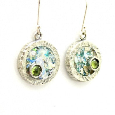 """Green Beauty"" Roman Glass Earrings - Roman-Glass-Jewelry.com  - 1"