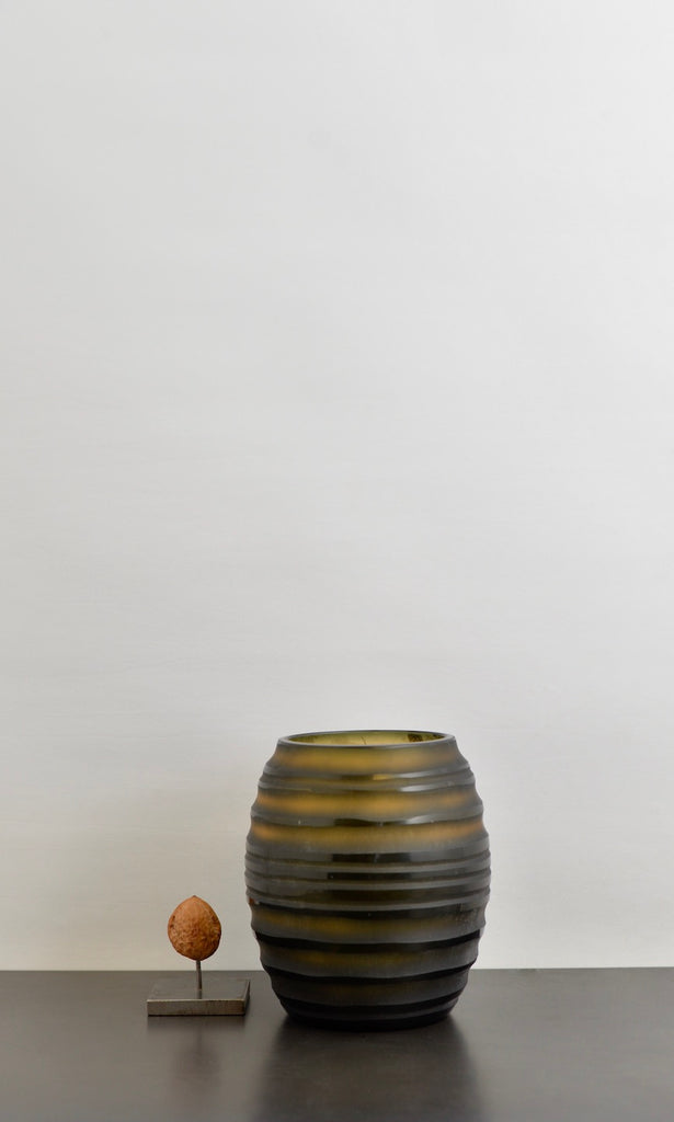 Green/ brown cut glass round vase