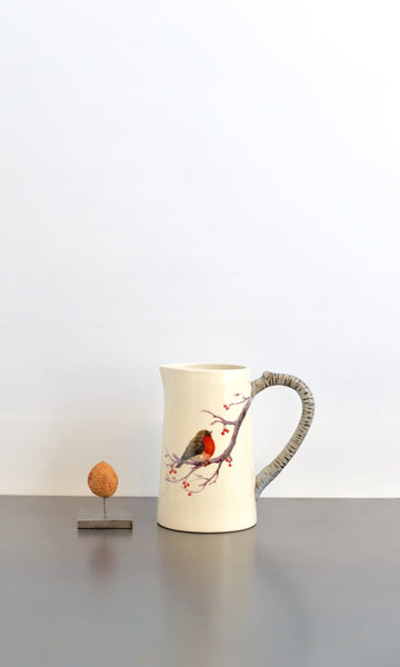 Jug with Red Robin bird