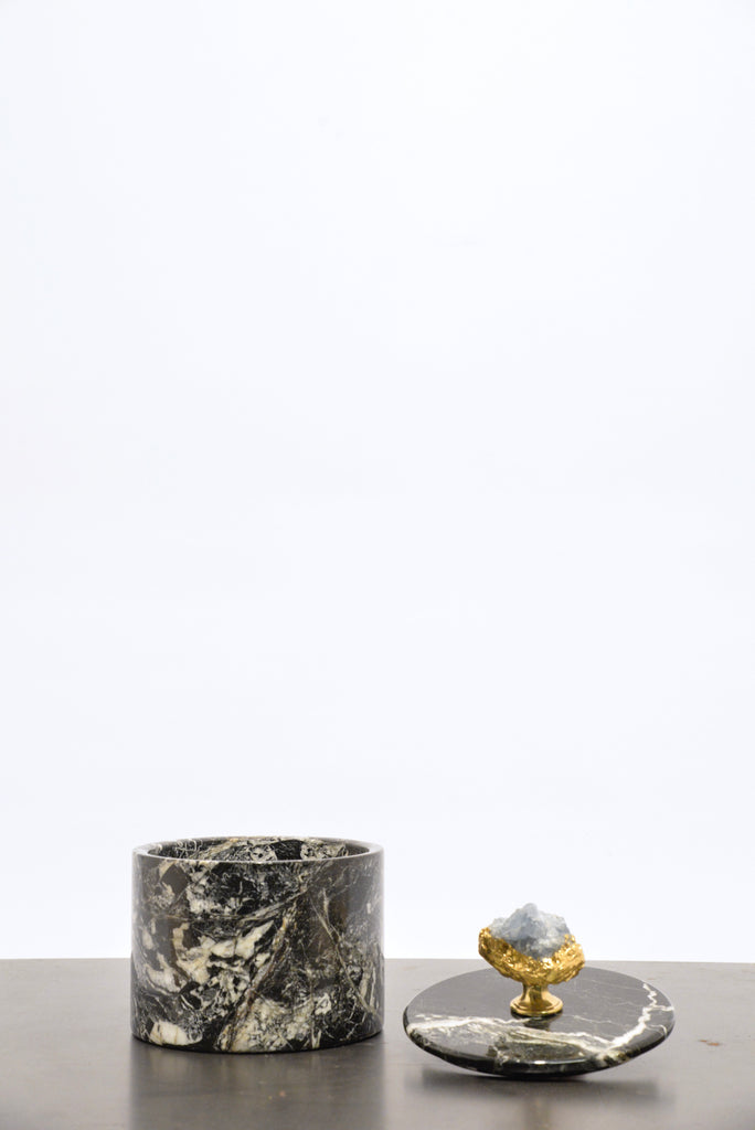 Black marble box with Celestine stone