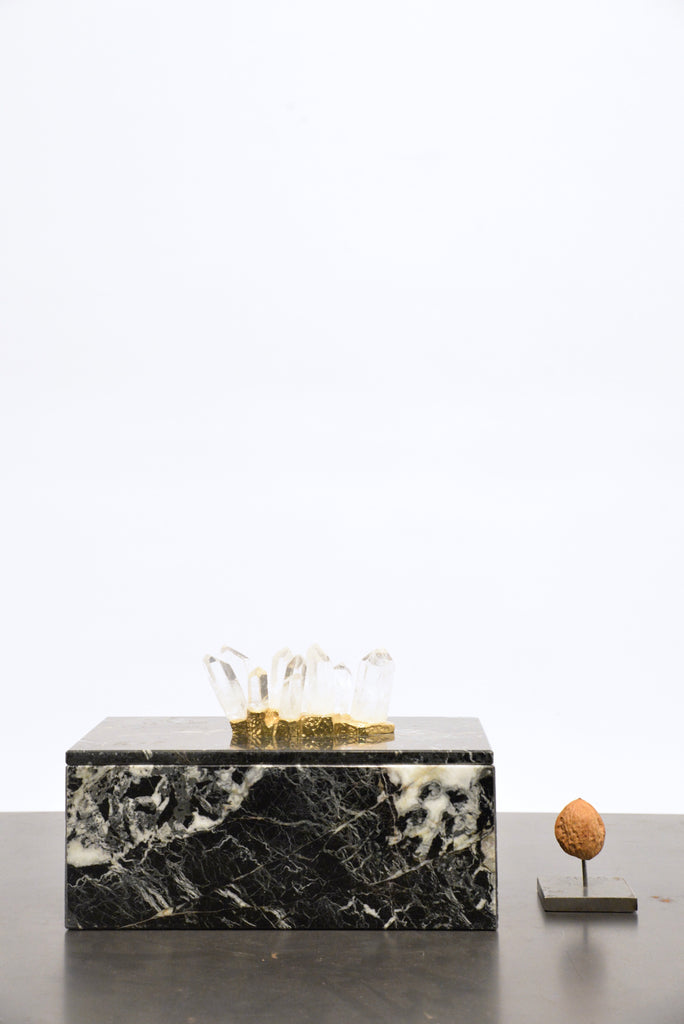 Black marble box with Celestine crystal