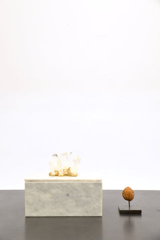 White marble box with rock crystal