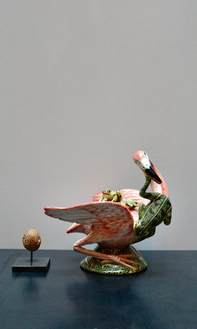 Ardmore flamingo with frog bowl