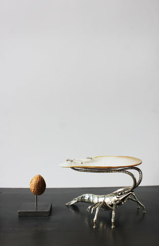 Silver plated prawn with shell