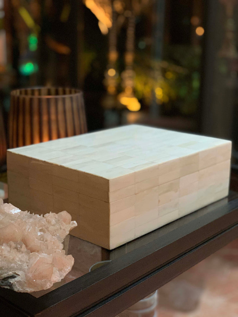 Cow horn box white polished