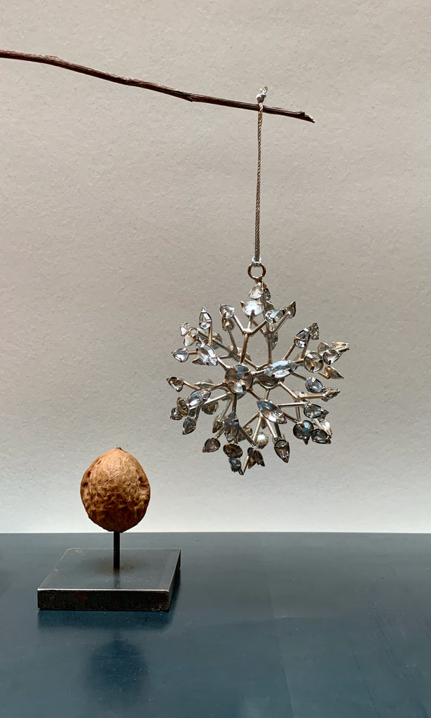 Beaded snowflake 3D star tree decoration silver