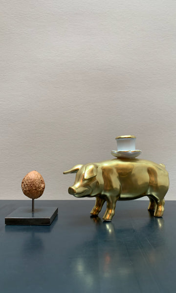 Urban Farm golden pig ceramic candle holder