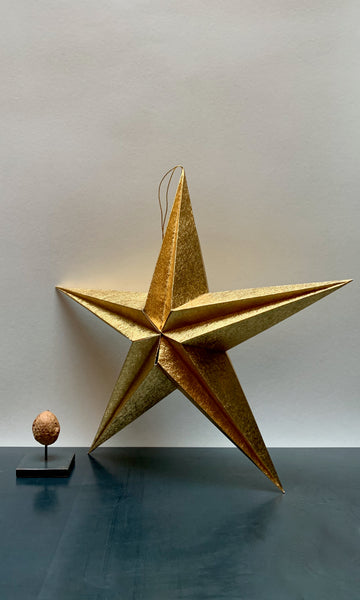 Golden paper folding star tree decoration