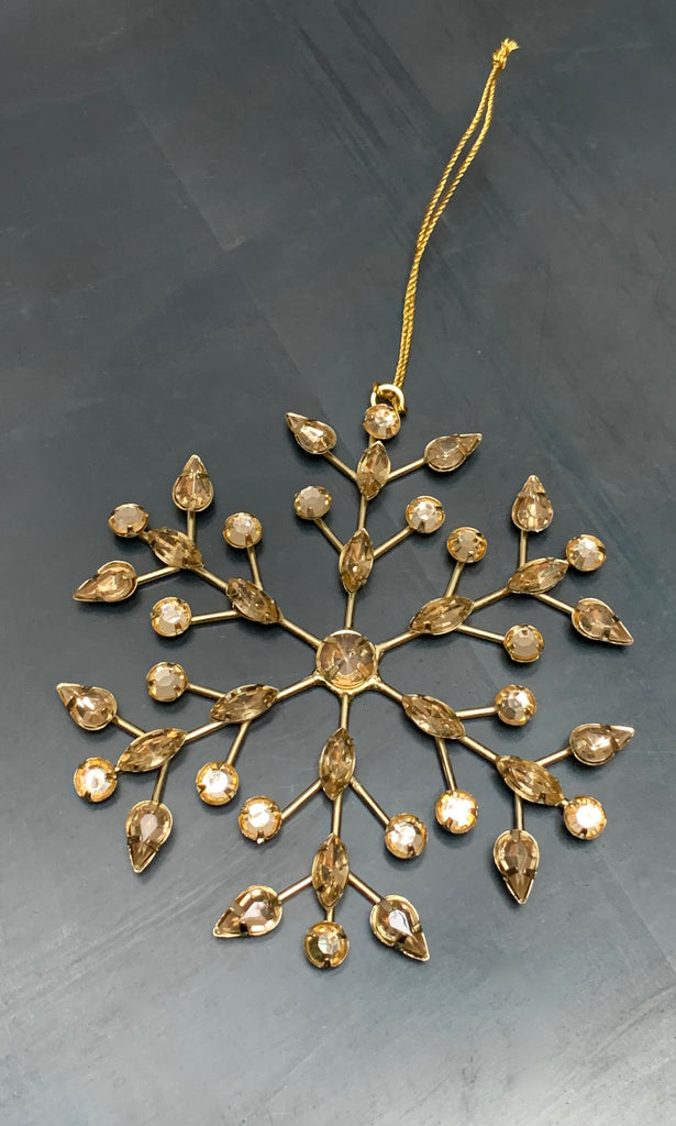 Beaded snowflake star gold tree decoration
