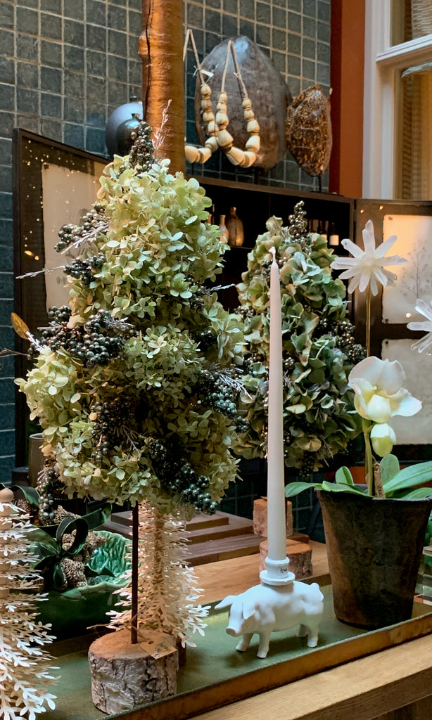 Hydrangea Christmas tree on wooden base