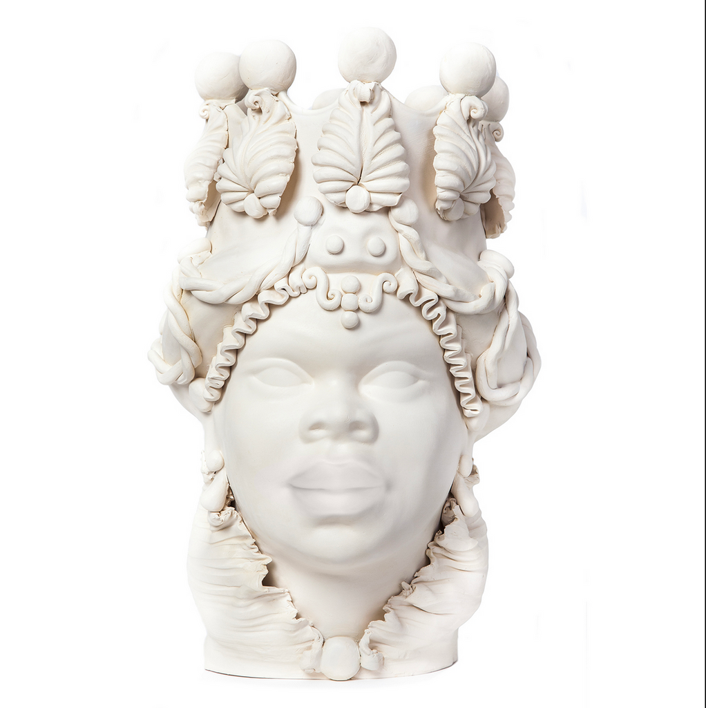 Moro head vase matt finish white