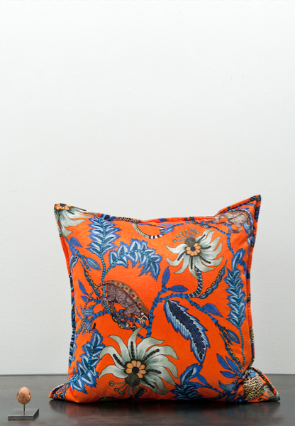 Ardmore fabric velvet monkey cushion orange