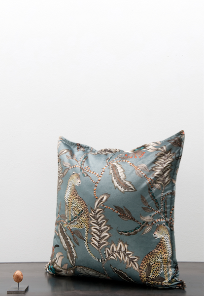 Velvet Ardmore leopard cushion - grey