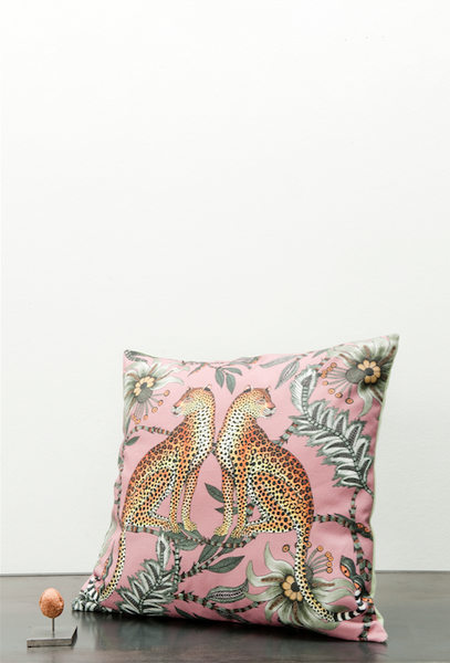 Ardmore fabric leopard cotton cushion pink