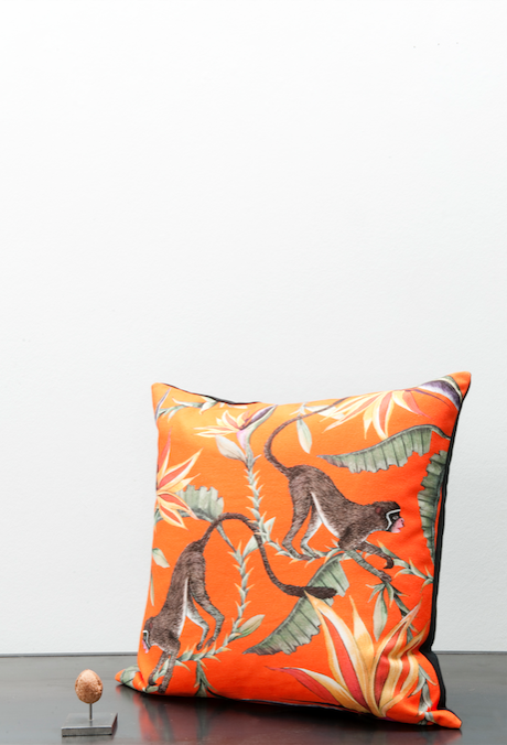 Cotton Ardmore monkey cushion - orange