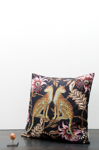 Ardmore fabric leopard cotton cushion black
