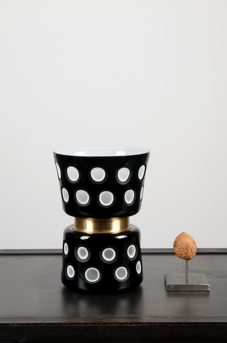 Black and white dotted vase - small