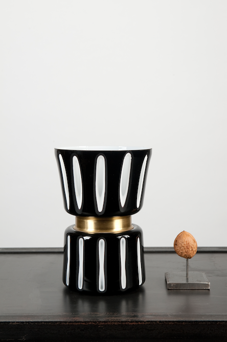 Black and white striped vase - small