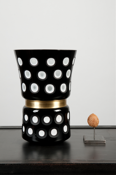 polkadot glass vase