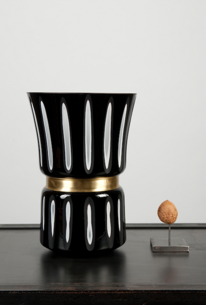 Black and white striped vase - medium