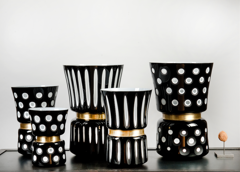 Black and white dotted vase - large