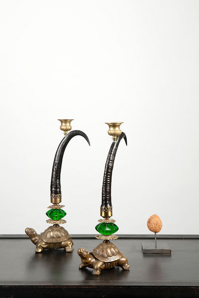 Klaus Dupont horn and turtle candle holder set