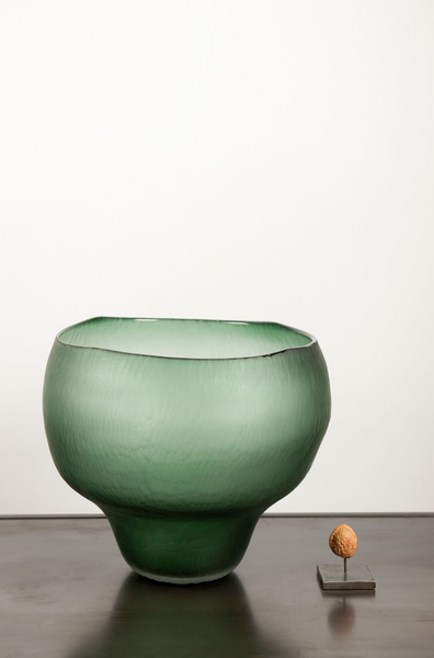 Green hand carved vase