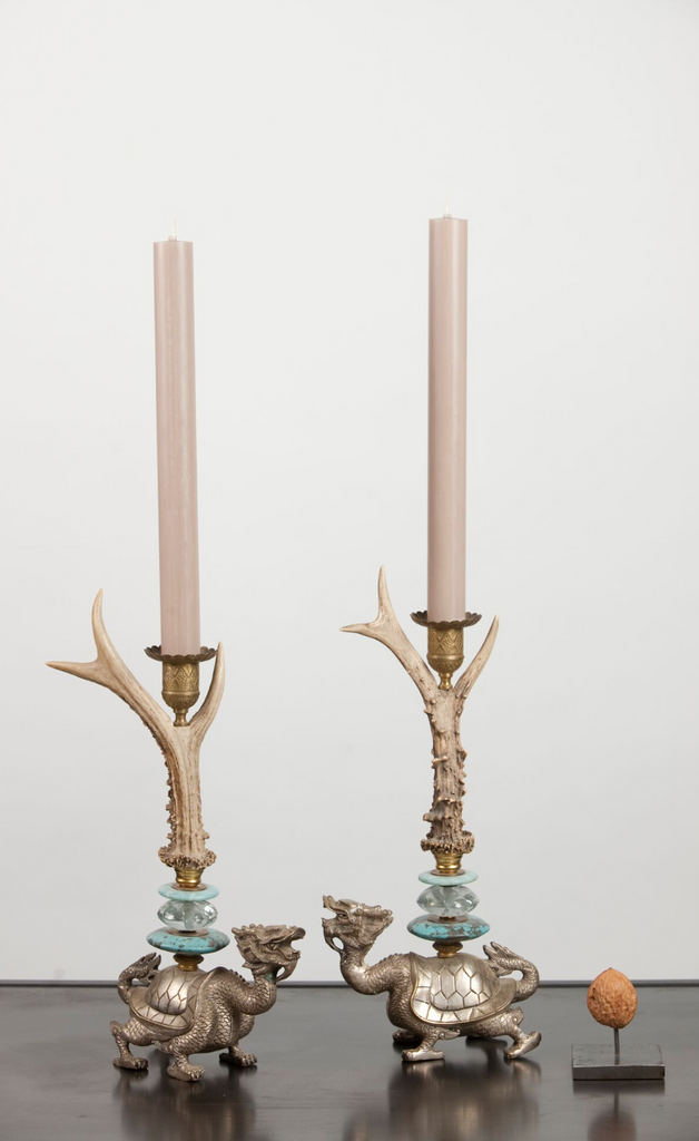 Klaus Dupont deer antler candle holder set