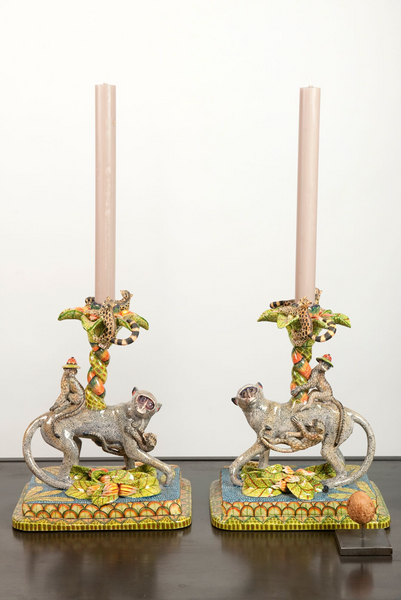 Ardmore Monkey candle holder set