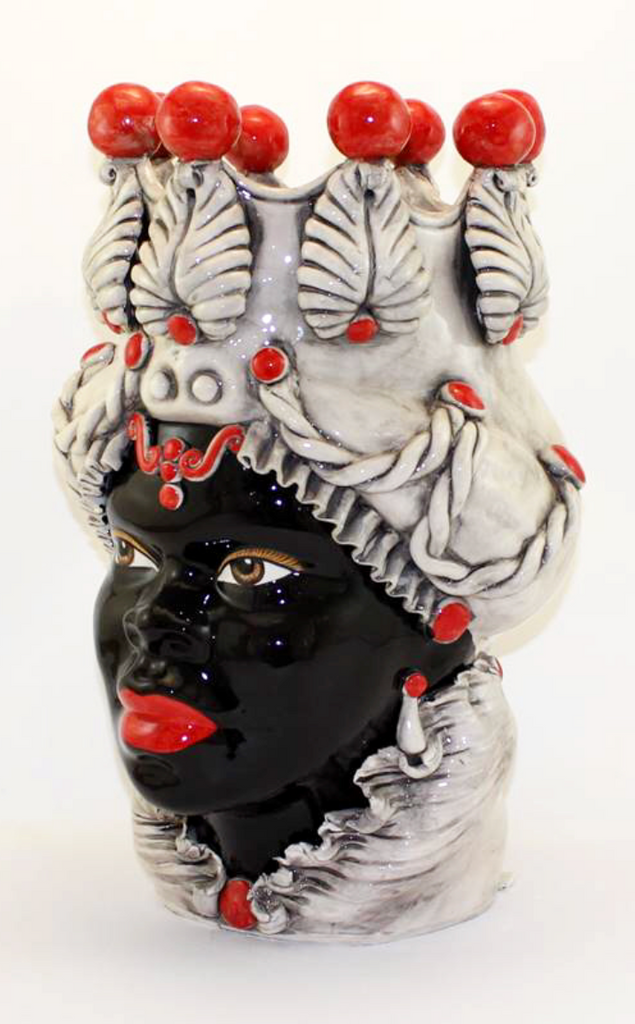 moro head vase ceramic red