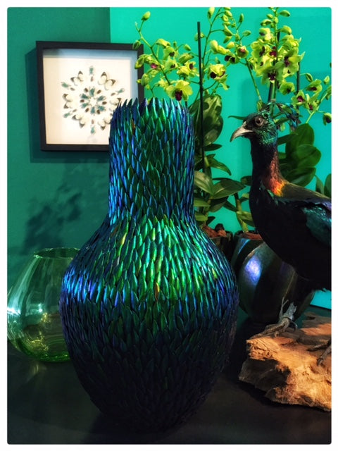 Scarab beetle shell vase green iridescent