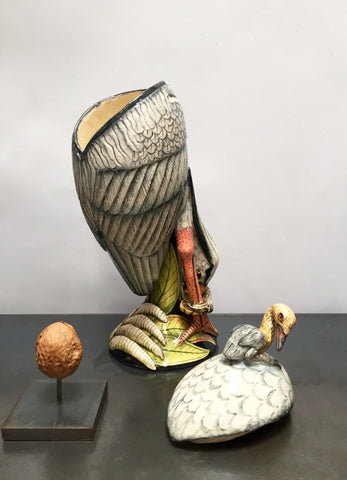 Ardmore stork with snake bowl