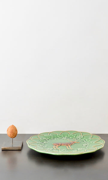 Green side plate with deer ceramic